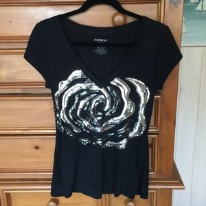 Express sequined rose shirt size small